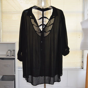 Torrid plus size caged back black top size 3